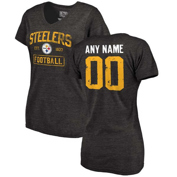 Women's Pittsburgh Steelers NFL Pro Line by Fanatics Branded Black Distressed Personalized Tri-Blend V-Neck T-Shirt