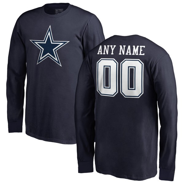 Youth Dallas Cowboys NFL Pro Line by Fanatics Branded Navy Personalized Primary Logo Long Sleeve T-Shirt