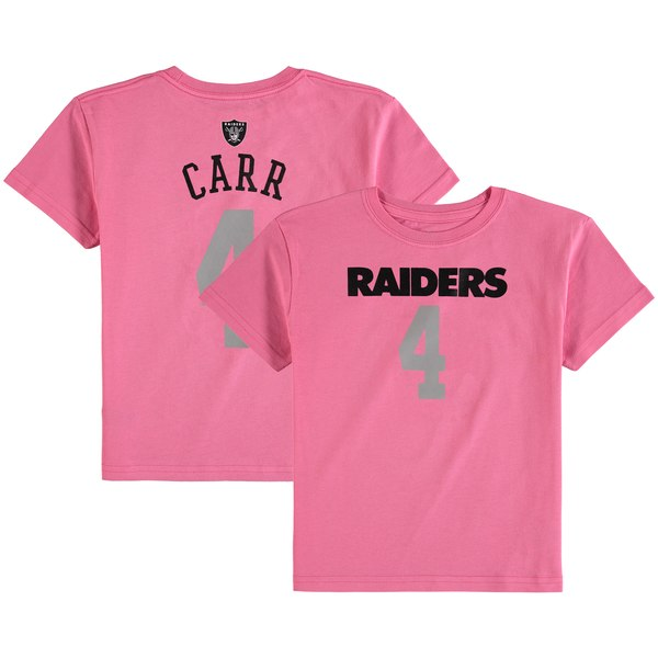 Girls Preschool Oakland Raiders Derek Carr Pink Mainliner Player Name & Number T-Shirt
